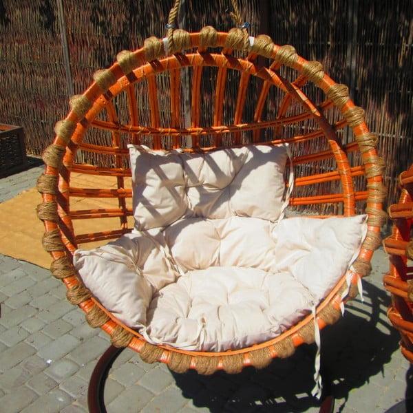 Wiklinowy fotel wiszący Elis, naturalna konstrukcja/kremowe siedzisko
