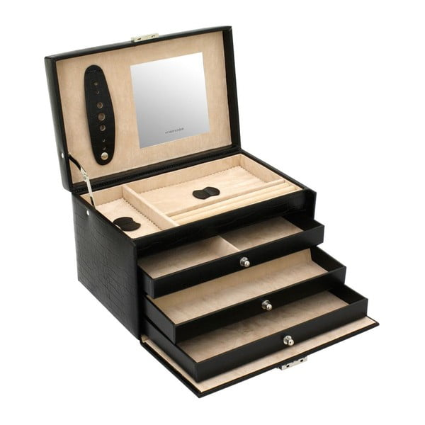 Szkatułka na biżuterię Classico Black, 24x15x16 cm