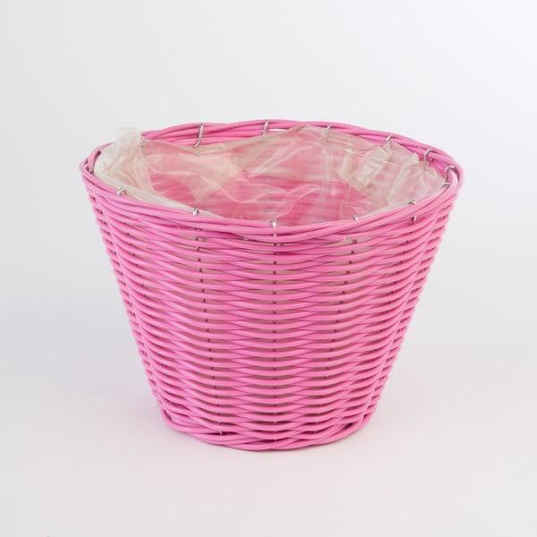 Okrągła rattanowa doniczka Baskie Pink