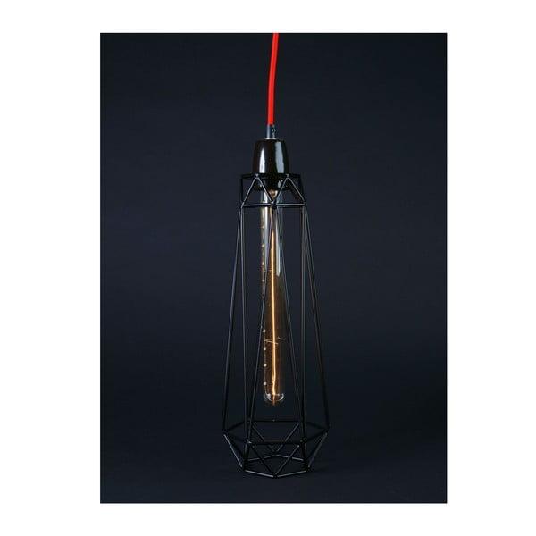 Czarna lampa wisząca z czerwonym kablem Filament Style Diamond #2