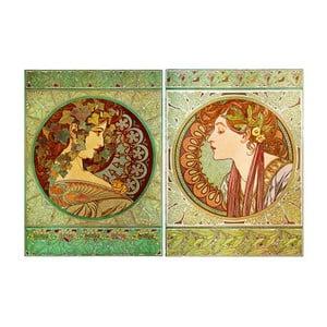 Zestaw 2 reprodukcji obrazów Alfonsa Muchy - Ivy And Laurel, 80x60 cm