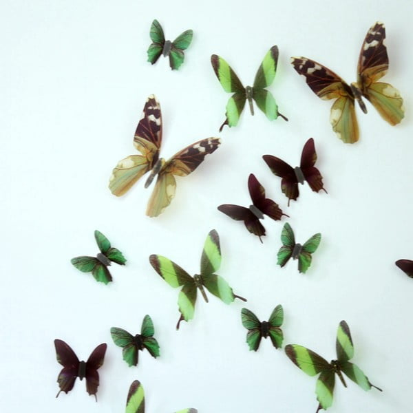 Zestaw 18 naklejek elektrostatycznych 3D Ambiance Butterflies Green