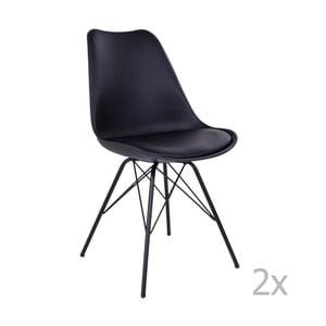 Zestaw 2 czarnych krzeseł House Nordic Oslo