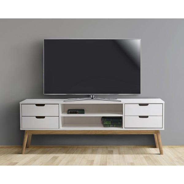 Biała szafka pod TV z litego drewna sosnowego Marckeric Baku