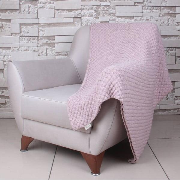 Różowy koc bawełniany Homemania Ciana, 170x130 cm