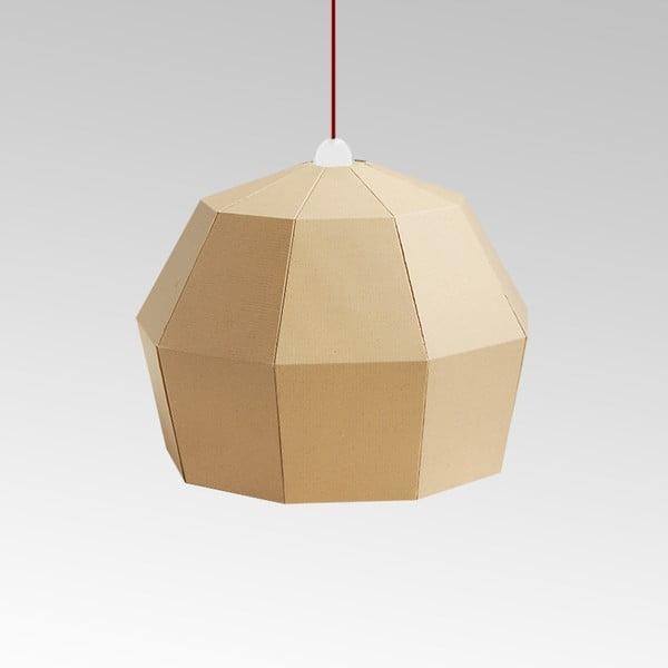 Kartonowa lampa Uno Fantasia A Natural, z czerwonym kablem