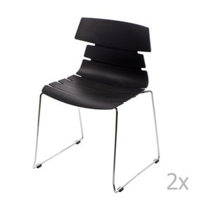 Zestaw 2 czarnych krzeseł D2 Techno