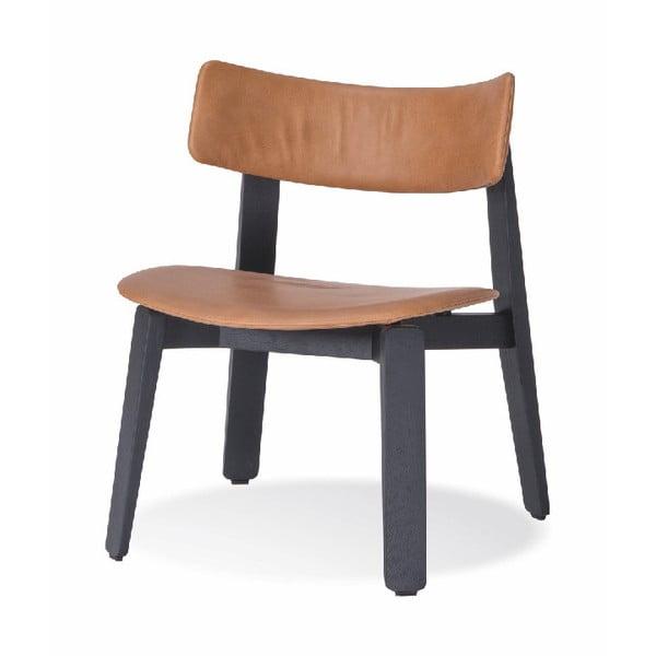 Czarne krzesło do jadalni z drewna dębowego ze skórzanym siedziskiem Gazzda Nora