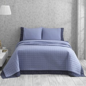 Niebieska narzuta dwuosobowa z poszewkami na poduszkę Jolly, 240x250 cm
