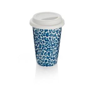 Niebieski kubek podróżny z porcelany kostnej Sabichi Leopard, 300 ml