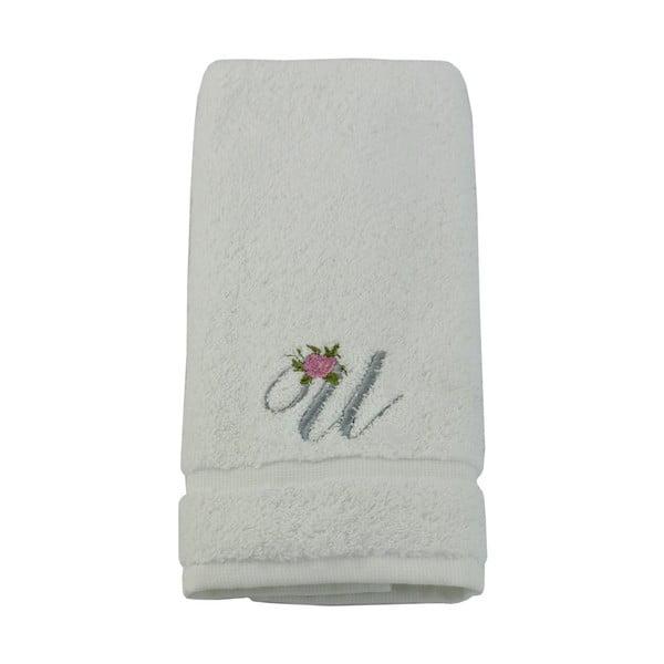 Ręcznik z inicjałem i różyczką U, 30x50 cm