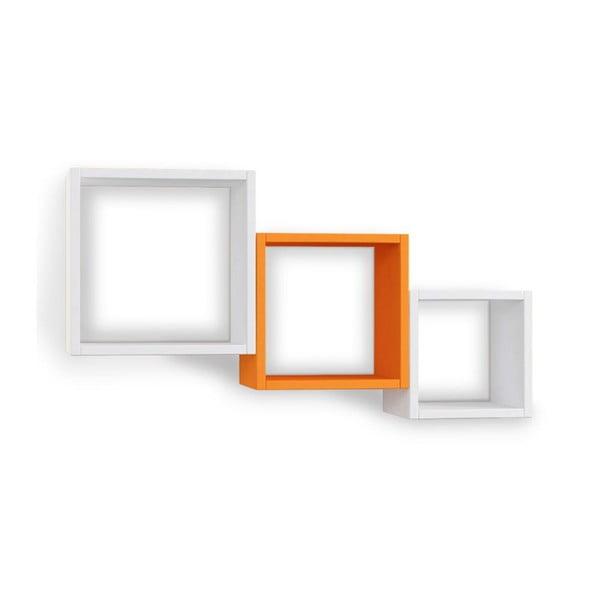 Zestaw 3 półek wiszących Kutugen White/Orange/White