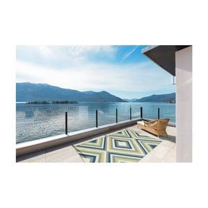 Zeleno-niebieski wytrzymały dywan odpowiedni na zewnątrz Floorita Rombi Blue Green, 133x190 cm