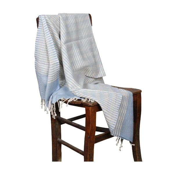 Jasnoniebieski ręcznik hammam Yummy Light Blue, 90x190cm