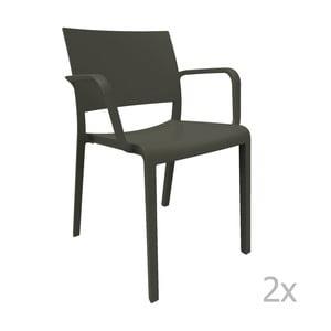 Zestaw 2 czarnych krzeseł ogrodowych z podłokietnikami Resol Fiona