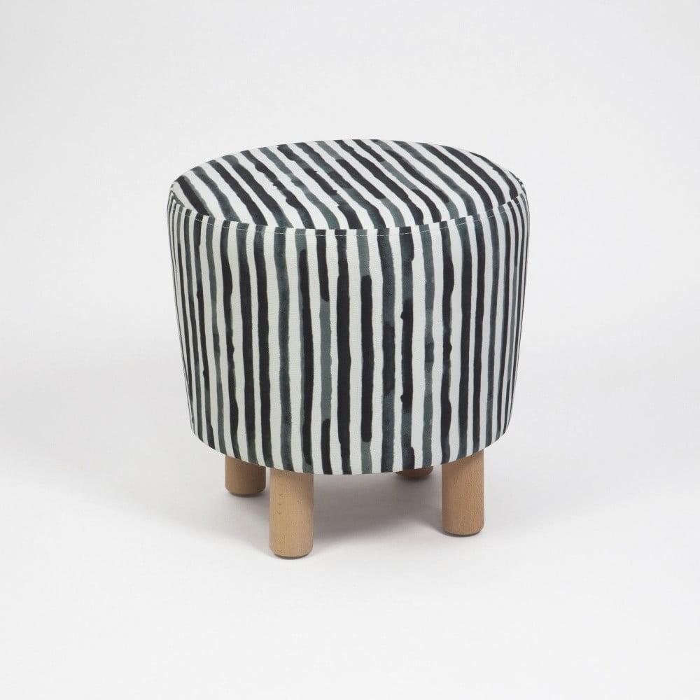 Czarno-biały taboret z drewnianymi nogami Cono Railey, ⌀ 41 cm