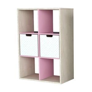 Mała półka pokryta fornirem z różowymi elementami Dotties