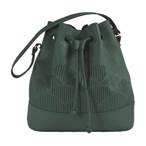 Skórzana torebka na ramię Cut Out, zielona
