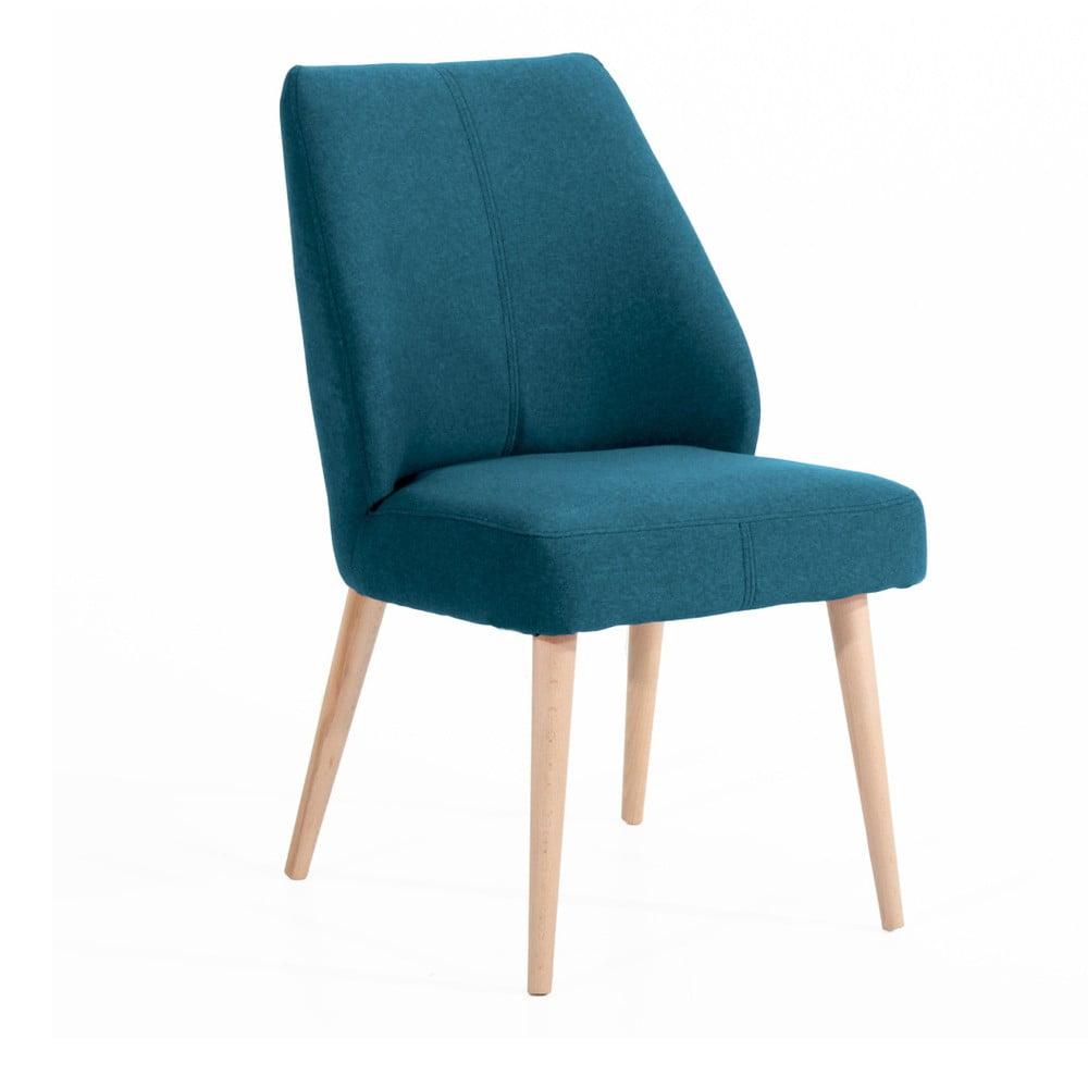Niebieskie krzesło tapicerowane Max Winzer Todd