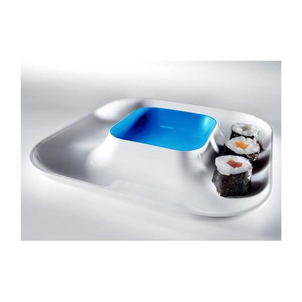 Niebieski talerz na przystawki Entity, 21x21 cm
