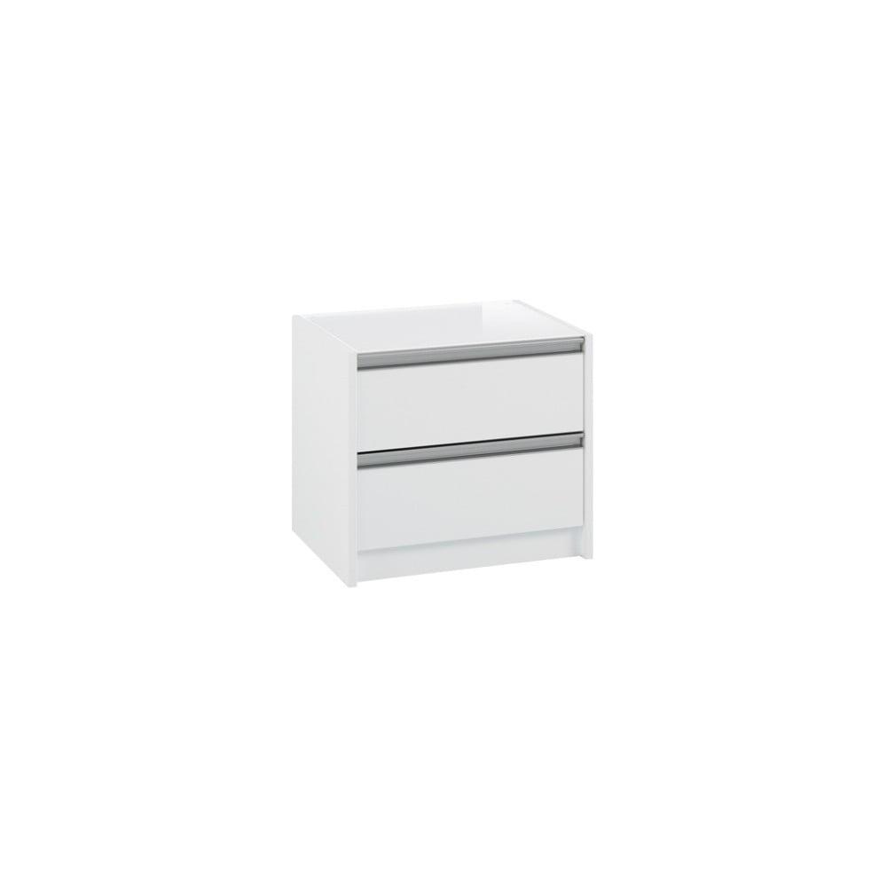 Biała szafka nocna z 2 szufladami Steens Skyline