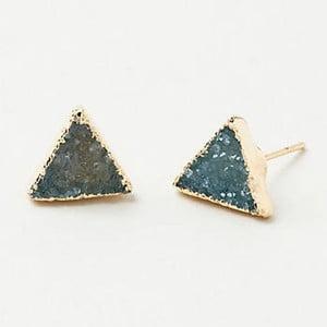 Pozłacane kolczyki z niebiesko-zielonym kryształem Decadorn Triangle