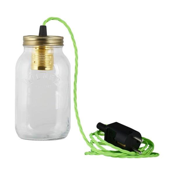Lampa JamJar Lights, jaskrawy zielony skręcony kabel