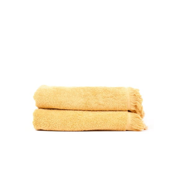 Komplet 2 żółtych ręczników kąpielowych z bawełny Casa Di Bassi Sun, 100x160 cm