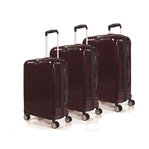 Zestaw 3 walizek Jaslen, burgund