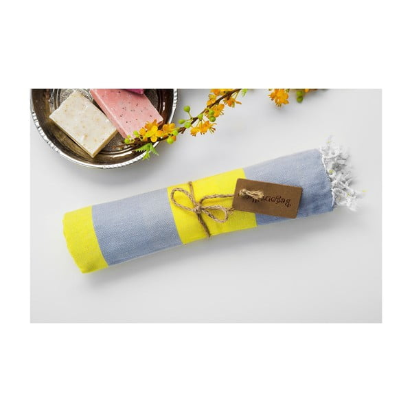 Ręcznik hammam Myra Grey Yellow, 100x180 cm