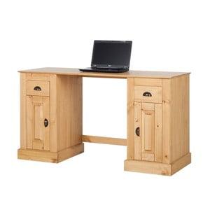 Naturalne biurko z drewna sosnowego z 2 drzwiczkami Støraa Tommy