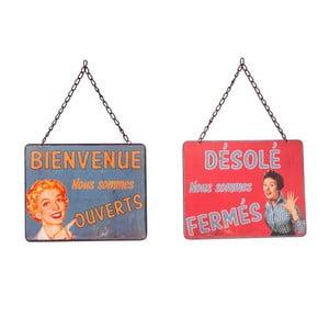 Tablica na drzwi Ouvert-Fermé