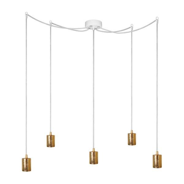 Biała pięcioramienna lampa wisząca ze złotą oprawką Bulb Attack Cero