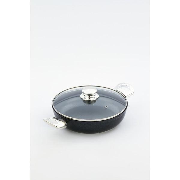 Patelnia z pokrywką i uchwytami w kolorze srebra Bisetti Black Diamond, wys. 6,3 cm