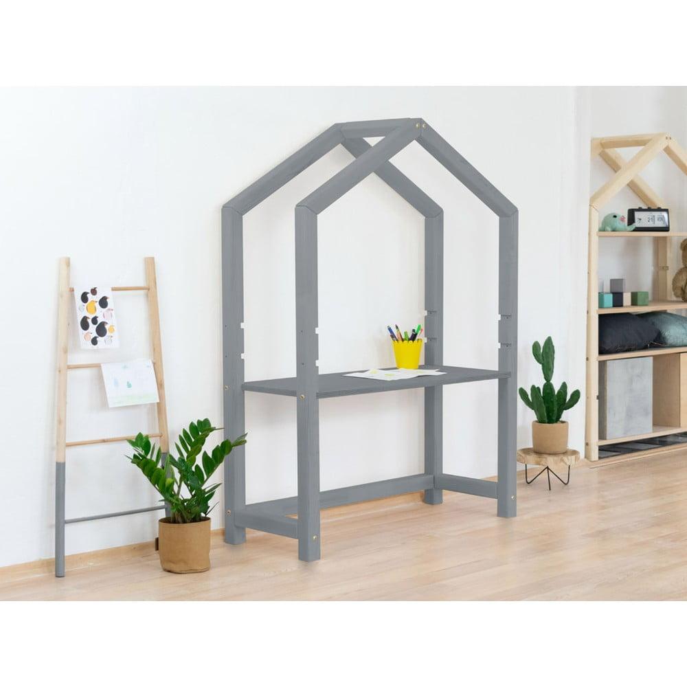 Szare drewniane biurko w kształcie domku Benlemi Stolly, 39x97 cm