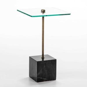 Stolik ze szkła i czarnego marmuru Thai Natura Delirium, Ø 40 cm