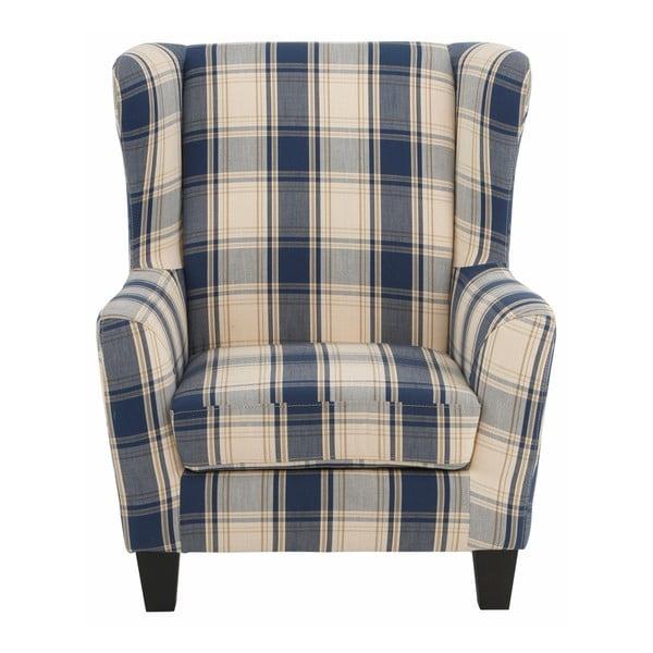 Niebieski fotel w kratkę z podnóżkiem Støraa Aladdin