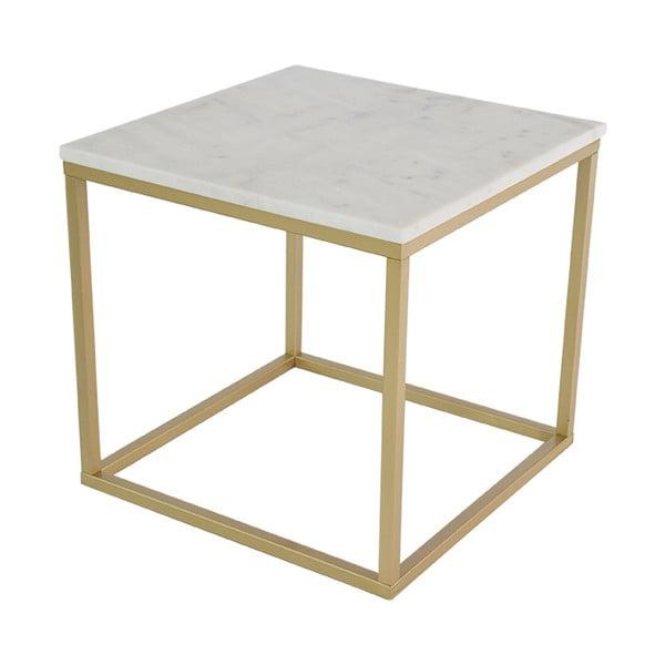 Marmurowy stolik z konstrukcją w kolorze mosiądzu RGE Accent, 55x55cm