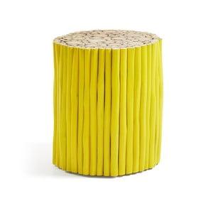 Żółty taboret z drewna tekowego La Forma Filippo