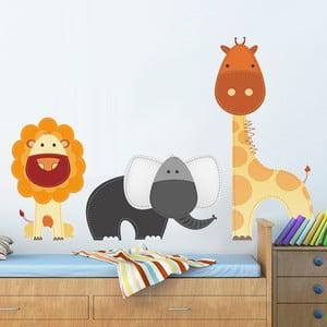 Naklejka na ścianę Lew, żyrafa i słoń, 50x70 cm