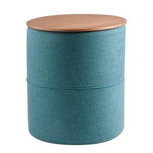 Turkusowy stolik z blatem w dekorze drewna dębowego sømcasa Leo, ø45cm
