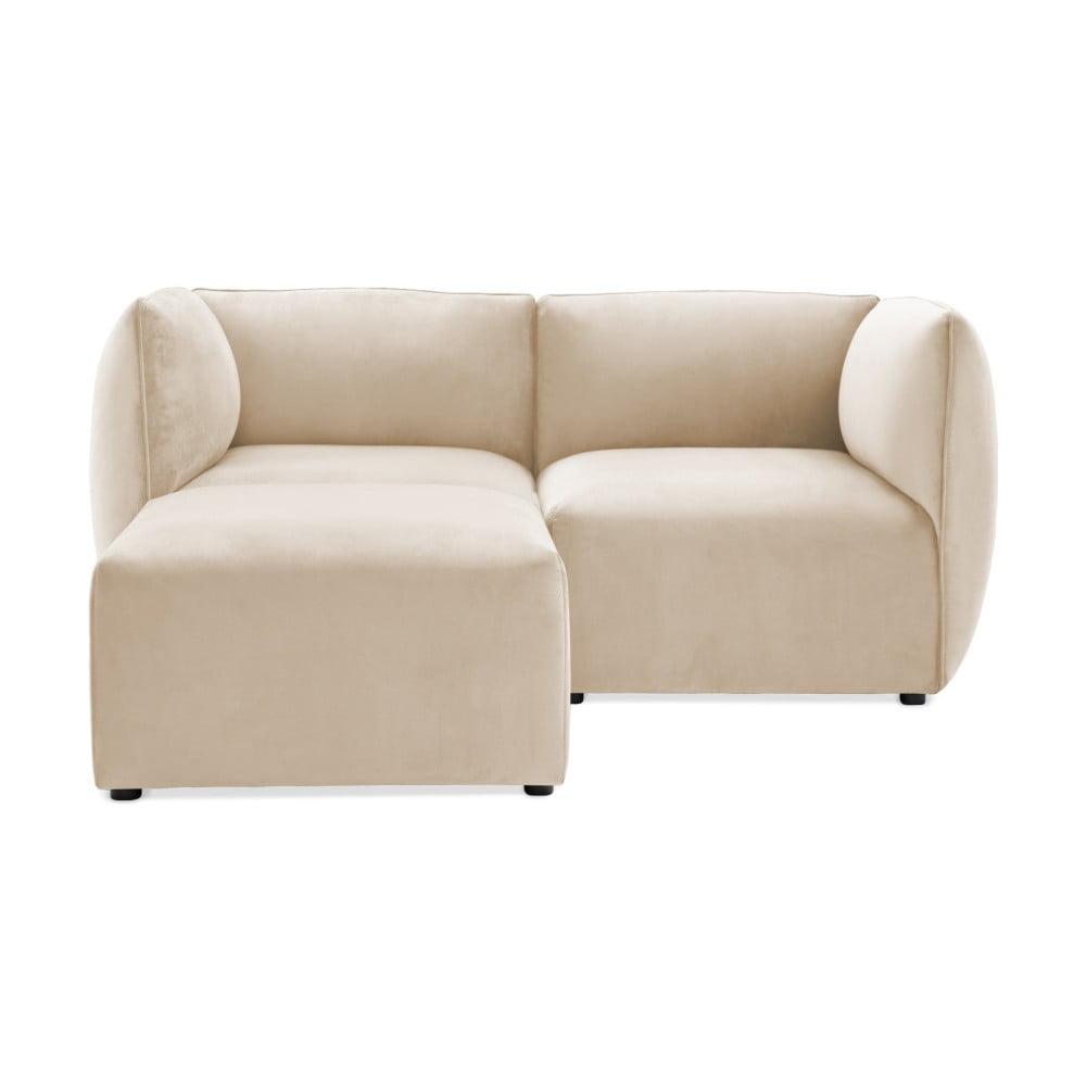 Szarokremowa 2-osobowa sofa modułowa z podnóżkiem Vivonita Velvet Cube