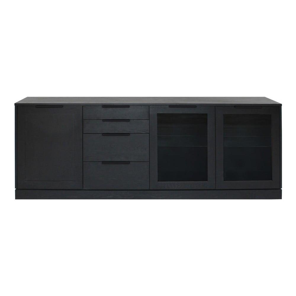 Czarna niska komoda z 4 szufladami z drewna dębowego Canett Fiagro