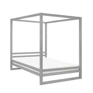 Szare drewniane łóżko dwuosobowe Benlemi Baldee, 200x160 cm