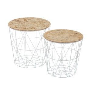 Zestaw 2 stolików ze schowkiem Unimasa Plate