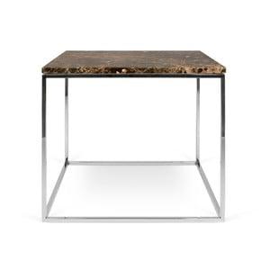 Brązowy stolik marmurowy z chromowanymi nogami TemaHome Gleam, 50 cm