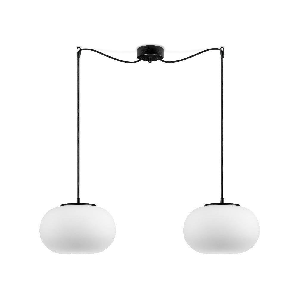 Biała podwójna lampa wisząca z czarną oprawką Sotto Luce DOSEI