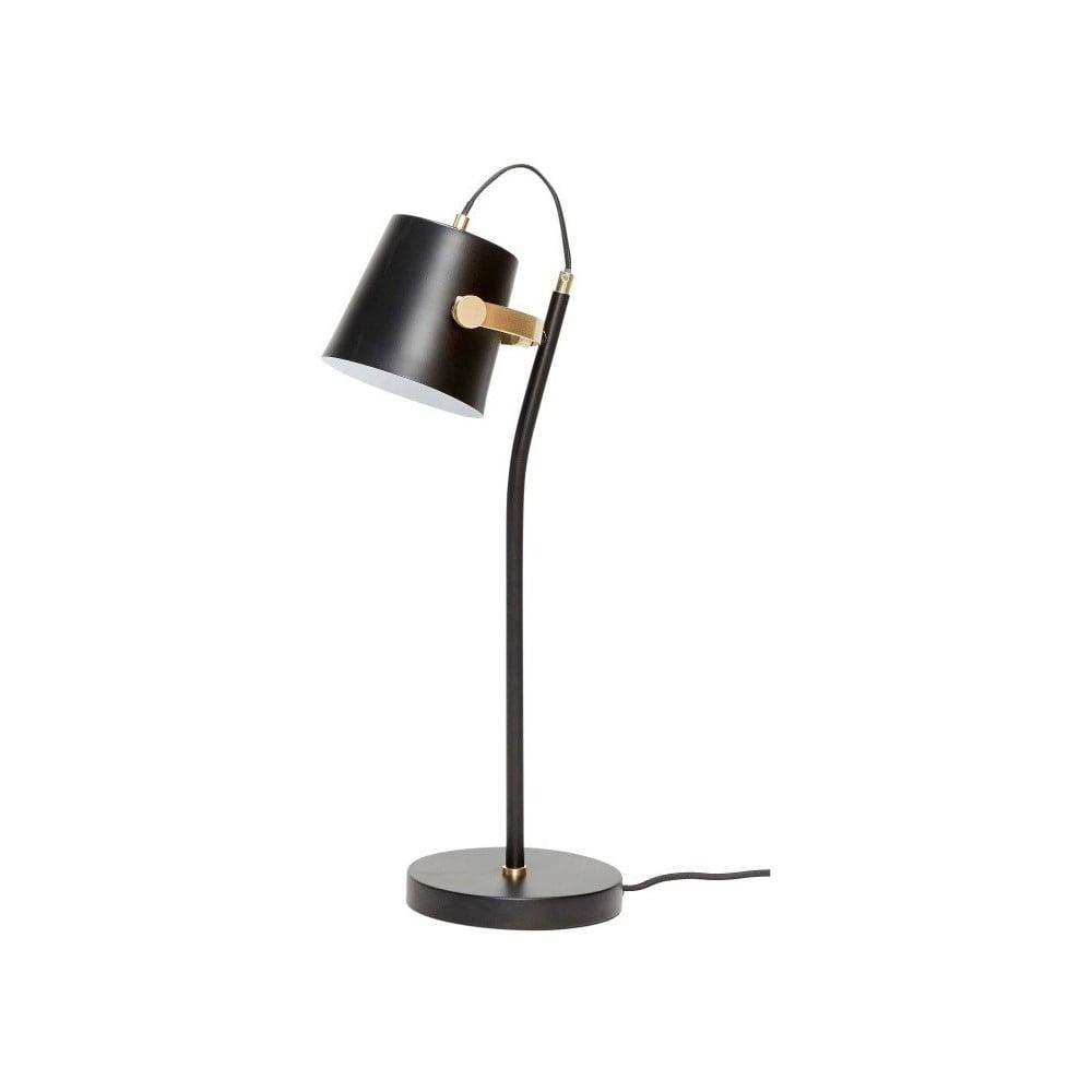 Czarna lampa stołowa Hübsch Gorel