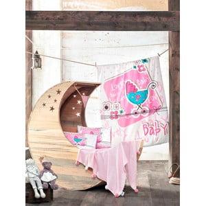 Zestaw dziecięcej pościeli i prześcieradła z plecionym kocem Lovely Baby, 100x150 cm