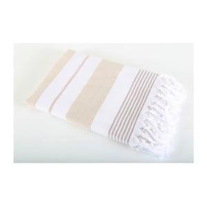 Jasnobrązowy ręcznik Hammam Leodikia, 150x100 cm
